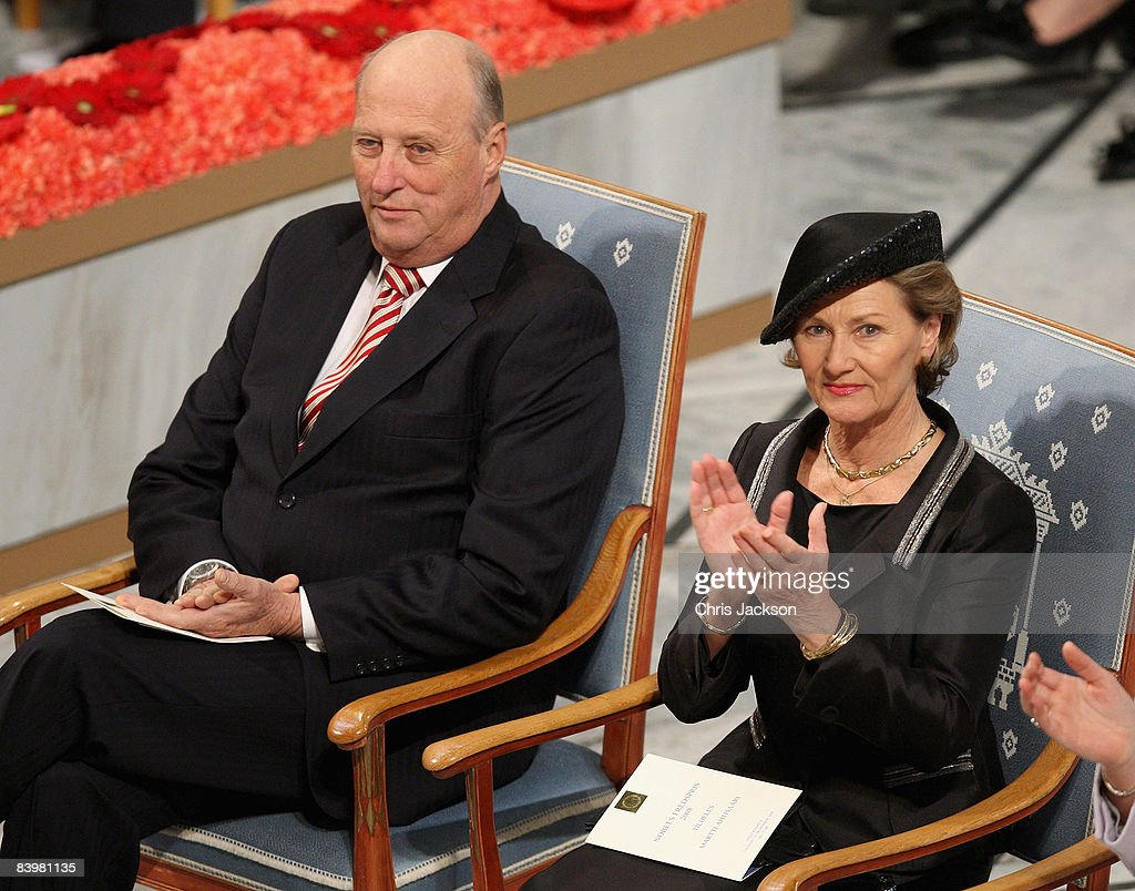 Queen Sonja of Norway and King Harald V of Norway attend the Nobel Peace Prize Ceremony 2008 in Oslo City Hall on December 10, 2008 in Oslo, Norway. The Norwegian Nobel Committee has decided to award the Nobel Peace Prize for 2008 to Martti Ahtisaari for his important efforts, on several continents and over more than three decades, to resolve international conflicts.