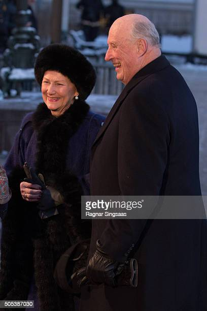 Queen Sonja of Norway and King Harald V of Norway attend their 25th anniversary as monarchs on January 17 2016 in Oslo Norway