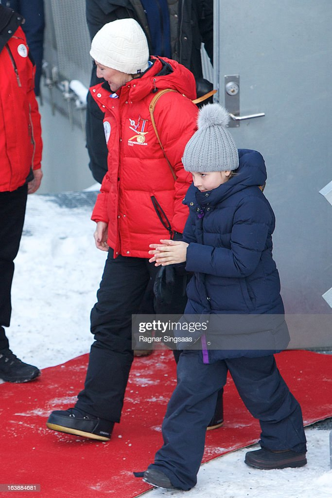 Queen Sonja of Norway and Princess Ingrid Alexandra of Norway attend FIS World Cup Nordic Holmenkollen 2013 on March 17, 2013 in Oslo, Norway.