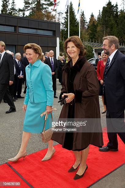 Queen Sonja of Norway and Queen Silvia of Sweden attend the anniversary at Voksenasen Hotel on October 1 2010 in Oslo Norway