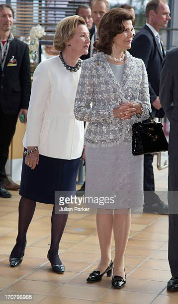 Queen Sonja of Norway and Queen Silvia of Sweden visit the offices of Statoil during their official visit on June 18 2013 in Harstad Norway