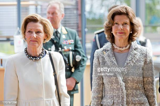 Queen Sonja of Norway and Queen Silvia of Sweden visit the offices of Statoil on June 18 2013 in Harstad Norway