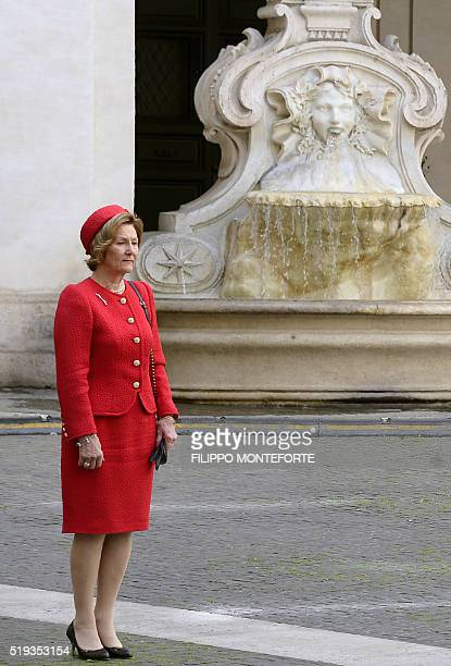 Queen Sonja of Norway arrives at Rome's Palazzo Chigi on April 6 during an official visit Queen Sonja and her husband King Harald of Norway were met...