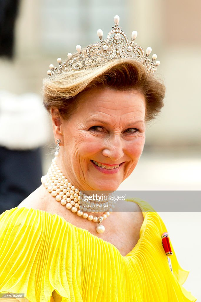 Queen Sonja of Norway, arrives at The Royal Chapel, at The Royal Palace in Stockholm for The Wedding of Prince Carl Philip of Sweden and Sofia Hellqvist on June 13, 2015 in Stockholm, Sweden.
