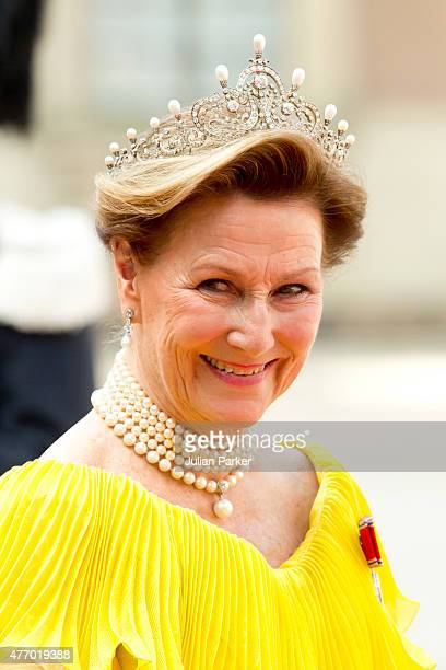 Queen Sonja of Norway arrives at The Royal Chapel at The Royal Palace in Stockholm for The Wedding of Prince Carl Philip of Sweden and Sofia...