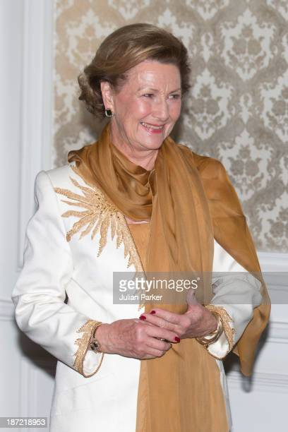 Queen Sonja of Norway attends a concert and Norwegian seafood buffet at the Ciragan Palace Kempinski Hotel on day two of the royal couple's state...