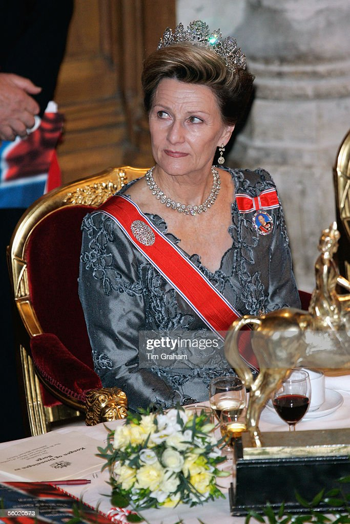 Queen Sonja of Norway attends a dinner at the Guildhall on October 26, 2005 in London, England.