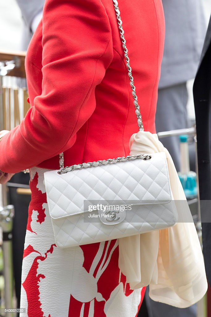Queen Sonja of Norway, ( handbag detail ), attends a Garden Party at the Royal Residence of Gamlehaugen, on a visit to Bergen, during the King and Queen of Norway's Silver Jubilee Tour, on June 25, 2016 in Bergen, Norway.