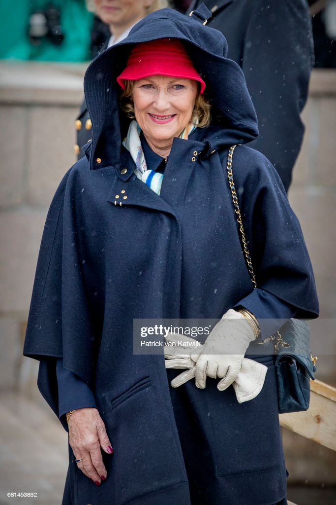 Queen Sonja of Norway attends a lunch on the Norwegian Royal yatch 'Norge'to celebrate the 80th birthdays of King Harald of Norway and Queen Sonja of Norway on May 10, 2017 in Oslo, Norway.