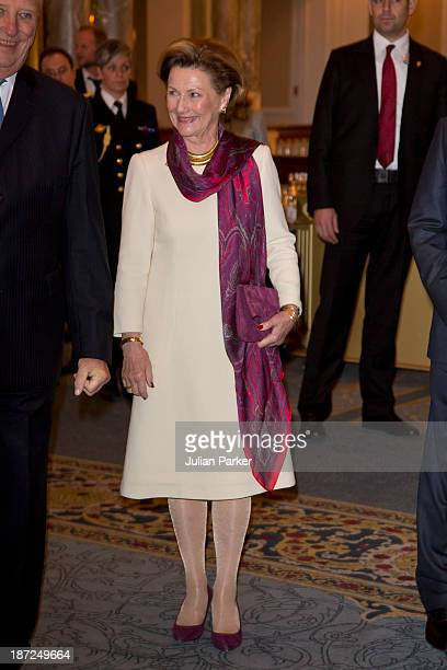 Queen Sonja of Norway attends a Turkish/Norwegian Business Seminar on day three of their State visit to Turkey on November 7 2013 in Istanbul Turkey