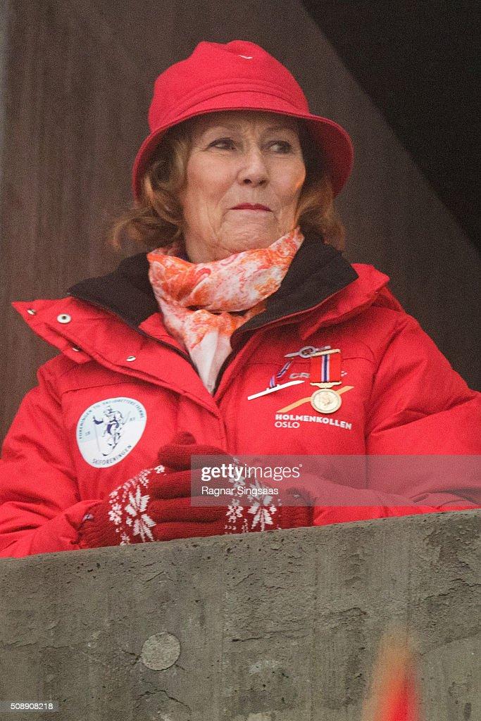 Queen Sonja of Norway attends Holmenkollen FIS World Cup Nordic on February 7, 2016 in Oslo, Norway.