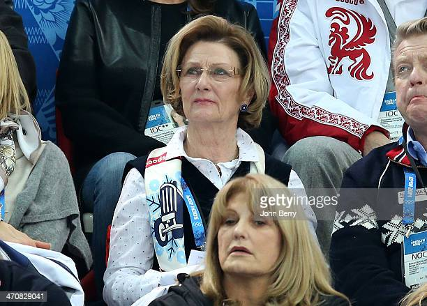 Queen Sonja of Norway attends the Figure Skating Ladies' Free Skating on day 13 of the Sochi 2014 Winter Olympics at Iceberg Skating Palace on...
