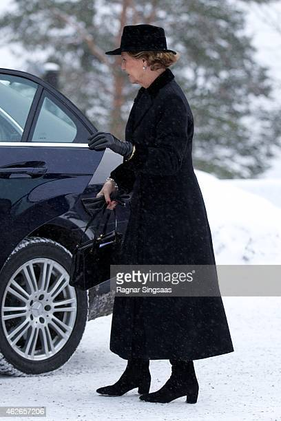 Queen Sonja of Norway attends the Funeral Service of Mr Johan Martin Ferner on February 2 2015 in Oslo Norway