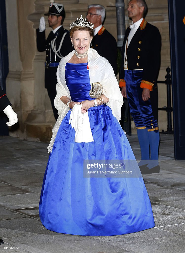 <a gi-track='captionPersonalityLinkClicked' href=/galleries/search?phrase=Queen+Sonja+of+Norway&family=editorial&specificpeople=160334 ng-click='$event.stopPropagation()'>Queen Sonja of Norway</a> attends the Gala dinner for the wedding of Prince Guillaume Of Luxembourg and Stephanie de Lannoy at the Grand-ducal Palace on October 19, 2012 in Luxembourg, Luxembourg. The 30-year-old hereditary Grand Duke of Luxembourg is the last hereditary Prince in Europe to get married, marrying his 28-year old Belgian Countess bride in a lavish 2-day ceremony.