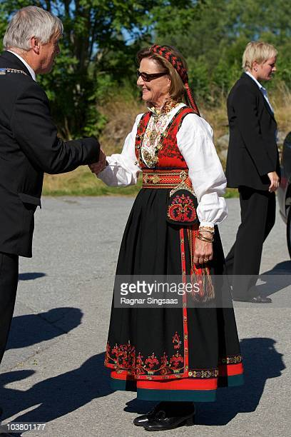 Queen Sonja of Norway attends the reopening of Urnes Stave Church which is on UNESCO's World Heritage List at Urnes Stave Church on September 2 2010...