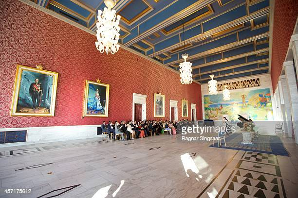Queen Sonja of Norway daughter of the President of India Sharmistha Mukherjee President of India Pranab Mukherjee and King Harald V of Norway attend...