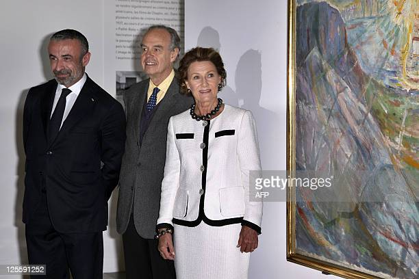 Queen Sonja of Norway flanked by French Culture and Communication Minister Frederic Mitterrand and Alain Seban President of the Centre Pompidou...