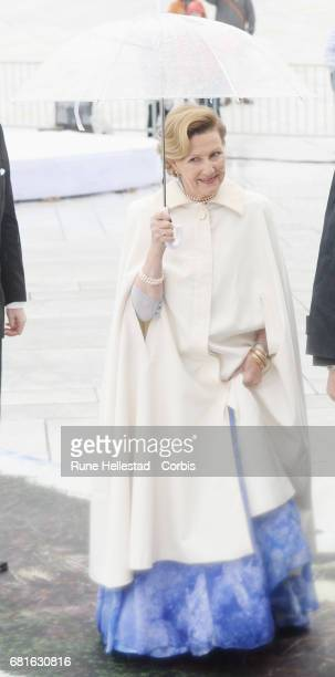 Queen Sonja of Norway is seen arriving at the Opera House on the occasion of the celebration of King Harald and Queen Sonja of Norway 80th birthdays...