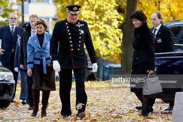 Queen Sonja of Norway King Harald V of Norway and Doris Leuthard arrive at the Swiss Design Exhibition at 'The Norwegian Centre for Design and...