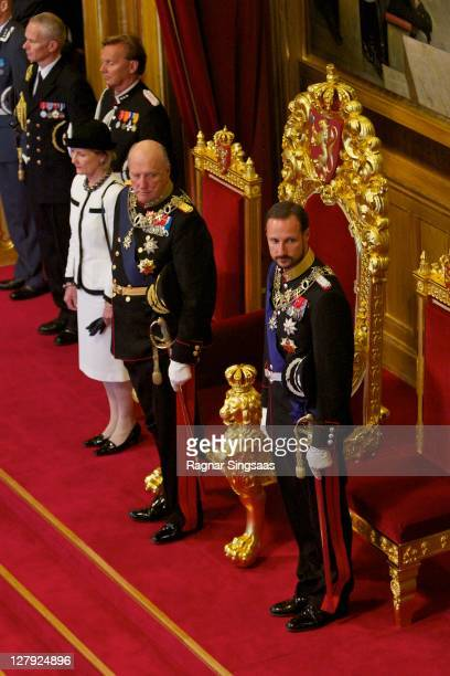 Queen Sonja of Norway King Harald V of Norway and Prince Haakon of Norway attend the opening of the 156th Stortinget at Storting on October 3 2011 in...
