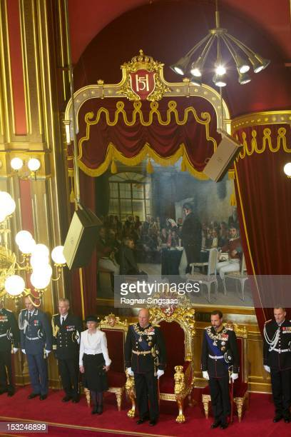 Queen Sonja of Norway King Harald V of Norway and Prince Haakon of Norway attend the opening of the 157th Storting on October 2 2012 in Oslo Norway