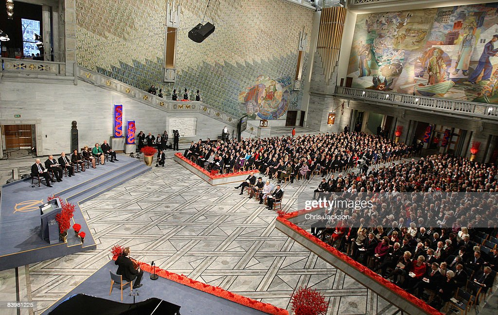 Queen Sonja of Norway, King Harald V of Norway, Crown Prince Haakon of Norway and Crown Princess Mette-Marit sit in the centre of the hall at the Nobel Peace Prize Ceremony 2008 in Oslo City Hall on December 10, 2008 in Oslo, Norway. The Norwegian Nobel Committee has decided to award the Nobel Peace Prize for 2008 to Martti Ahtisaari for his important efforts, on several continents and over more than three decades, to resolve international conflicts.
