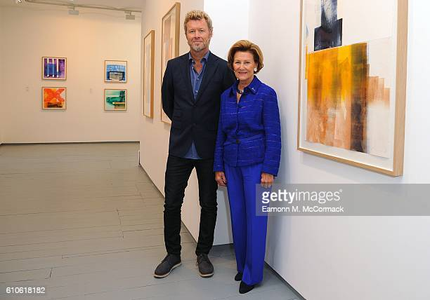 Queen Sonja of Norway Magne Furuhomen attend a press call for their 'Texture' exhibition made in support of The Queen Sonja Print Award at Paul...