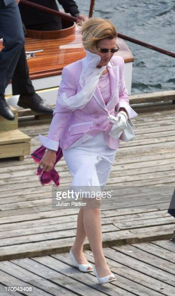 Queen Sonja of Norway on the last day of a three day visit to the county of Sor Trondelag visits the municipality of Bjugn on June 6 2013 in Bjugn...