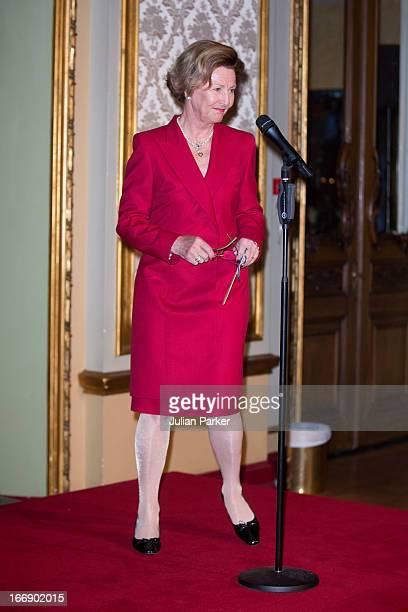 Queen Sonja of Norway opens The Kirsten Flagstad Year 2013 at National Theatre on April 18 2013 in Oslo Norway