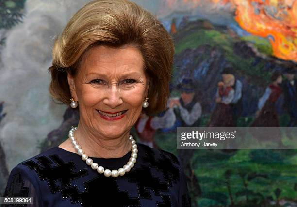 Queen Sonja of Norway opens the Nikolai Astrup Painting Norway Exhibition at Dulwich Picture Gallery on February 3 2016 in London England