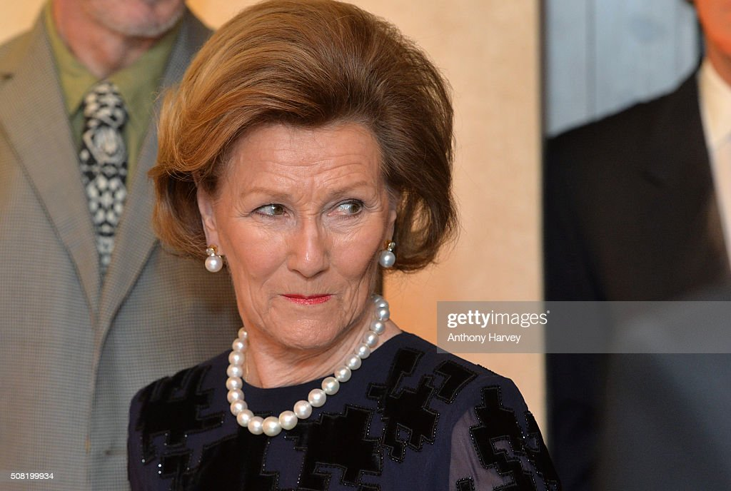 Queen Sonja of Norway opens the Nikolai Astrup: Painting Norway Exhibition at Dulwich Picture Gallery on February 3, 2016 in London, England.