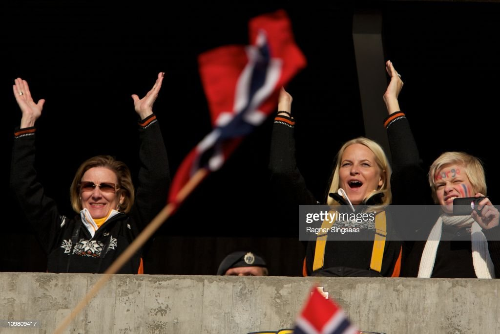 Queen Sonja of Norway, Princess Mette-Marit of Norway and Marius Borg Hoiby attend the Men's 50km Free Mass Start in the FIS Nordic World Ski Championships 2011 at Holmenkollen on March 6, 2011 in Oslo, Norway.