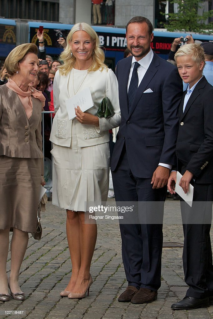 Queen Sonja of Norway, Princess Mette-Marit of Norway, Prince Haakon of Norway and Marius Borg Hoiby attend a church service on the occasion of their Crown Prince Haakon and Crown Princess Mette-Marit of Norway's 10th wedding anniversary at Oslo Cathedral on August 25, 2011 in Oslo, Norway.