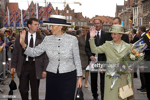 Queen Sonja Of Norway Queen Paola Of Belgium Undertake A Walkabout In Tournai During The Norwegian State Visit To Belgium