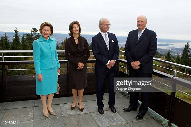 Queen Sonja of Norway Queen Silvia of Sweden King Carl XVI Gustaf of Sweden and King Harald V of Norway attend the anniversary at Voksenasen Hotel on...