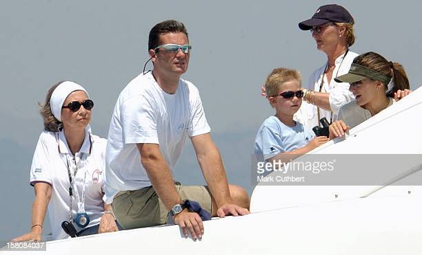 Queen Sonja Of Norway Queen Sofia Crown Princess Letizia Of Spain Inaki Urdangarin Onboard 'Somni' During The 2004 Copa Del Rey Regatta In Palma De...