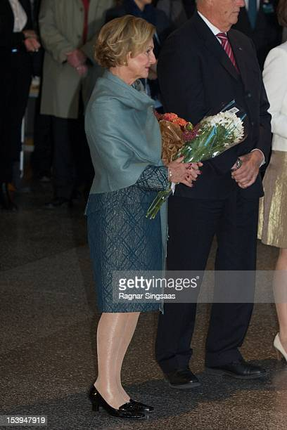 Queen Sonja of Norway visits Rommen school and cultural centre during the second day of the Finnish state visit on October 11 2012 in Oslo Norway