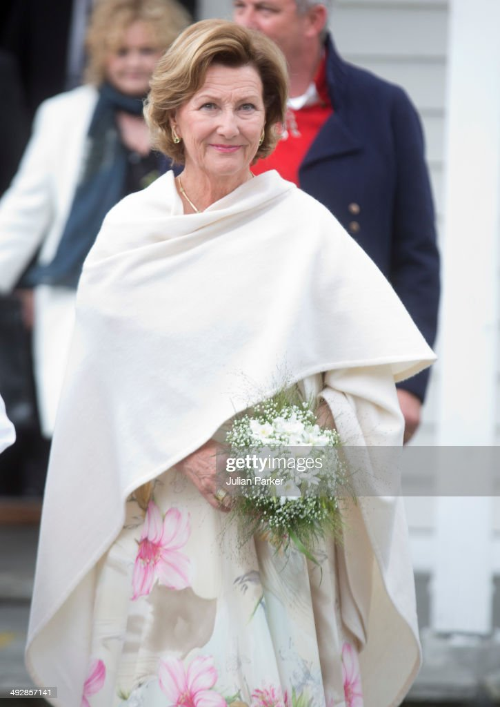 Queen Sonja of Norway visits the community of Gjemnes on May 21, 2014 in More And Romsdal County, Norway. King Harald And Queen Sonja Of Norway are on a two day visit of the county of More & Romsdal in Norway.