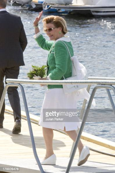 Queen Sonja of Norwayon the last day of a three day visit to the county of Sor Trondelag in the municipality of Afjord on June 6 2013 in Afjord Norway