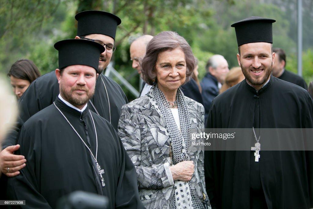 Queen Sophia and Bulgarian Bishops pose in Vratsa region, Bulgaria on 17 June 2017.