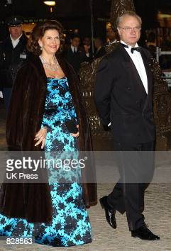 Queen Sylvia and King Gustaav of Sweden attend a dinner and party at the Royal Palace in honor of the wedding of Dutch Crown Prince WillemAlexander...