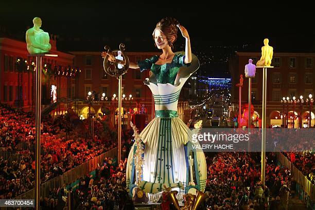 A 'Queen Symphony' parades during the Nice Carnival on February 17 2015 in Nice southeastern France The carnival starting from February 13 until...