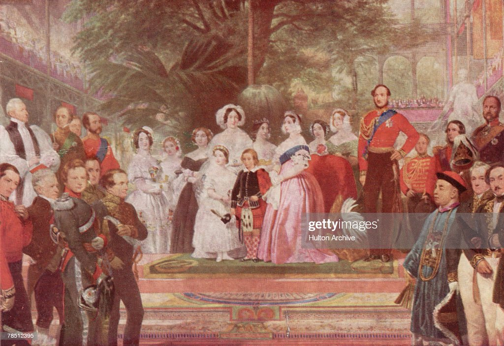 Queen Victoria accompanied by Prince Albert and their children opens the Great Exhibition in the Crystal Palace Hyde Park London May 1851 Detail from...