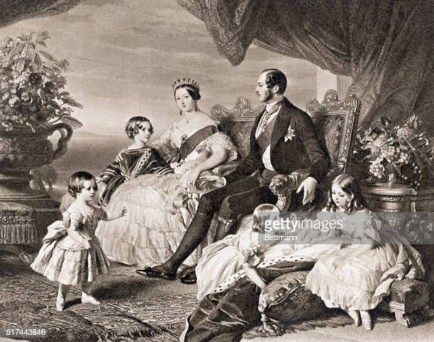 1848 Queen Victoria and Albert with the Royal Family Mezzotint after a painting by F Winterhalter Undated illustration