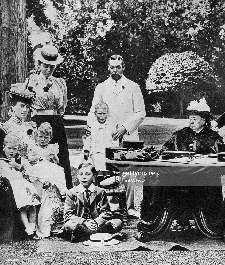Queen Victoria and family at Osborne House late 19th century Prince Edward Duke of Windsor is on the extreme left in a sailor suit Prince George's...