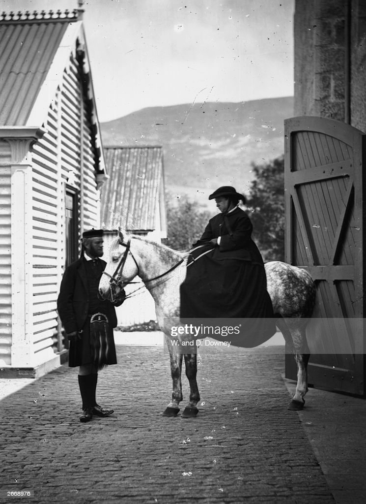 Queen Victoria and her personal attendant John Brown ready for a ride at Balmoral