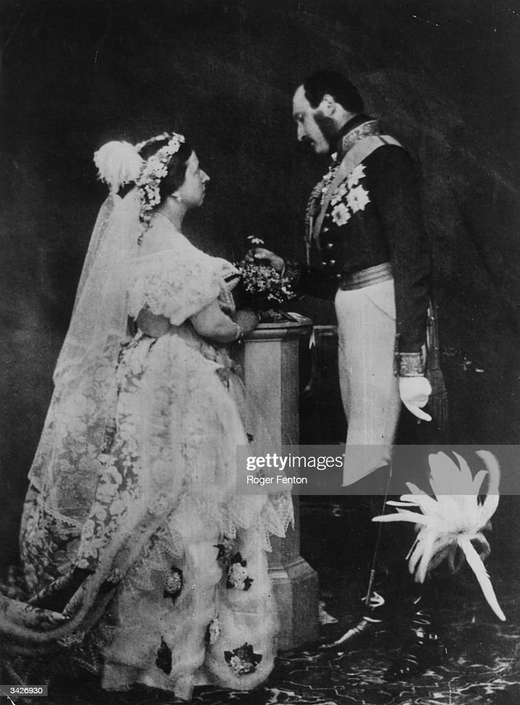 Queen Victoria and Prince Albert in a reenactment of their marriage ceremony Prince Albert is in military uniform and is wearing his medals