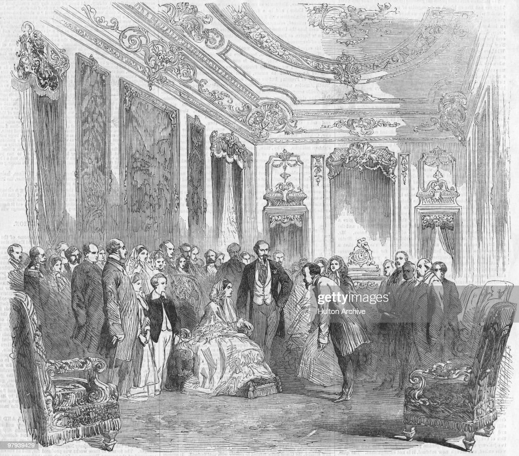 Queen Victoria (1819 - 1901) and Prince Albert (1819 - 1861) visit the Paris World's Fair, 1855. Standing next to the Queen is the Emperor <a gi-track='captionPersonalityLinkClicked' href=/galleries/search?phrase=Napoleon+III&family=editorial&specificpeople=79405 ng-click='$event.stopPropagation()'>Napoleon III</a> of France (1808 - 1873).