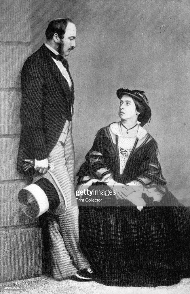 Queen Victoria and the Prince Consort, 1860. Portrait of Victoria (1819-1901), the longest reigning monarch (1837-1901) and her husband Prince Albert who was born in the same year but died of typhus in 1861, aged 42.
