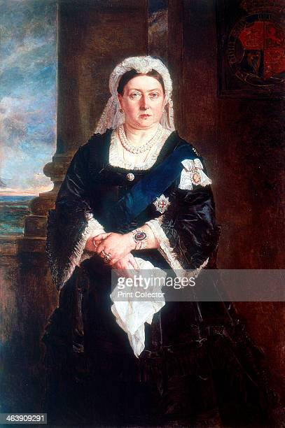 Queen Victoria c1880 Threequarter length portrait of the Queen wearing the star and ribbon of the Order of the Garter over a black dress Victoria...